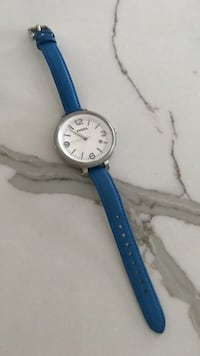 round white analog watch with blue leather strap Vaughan, L6A