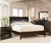 King or Queen 6pc Leather Cappuccino Bedroom Set Charlotte, 28216