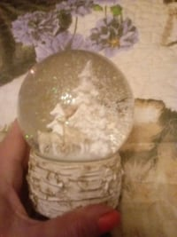 glass snowglobe white trees and deer and a wolf Greencastle, 17225