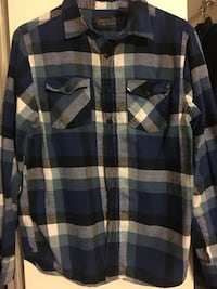 Blue and white  plaid button-up long sleeve top men's medium