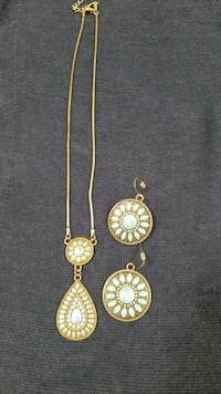 imitation turquoise necklace and earrings