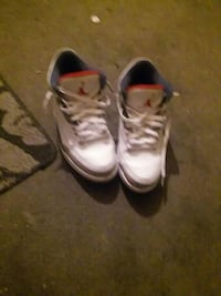 white-red-and-blue Air Jordan basketball shoes