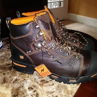 pair of brown leather work boots Frederick