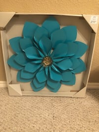 Blue and gold flower wall decor Red Oak, 75154