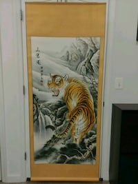 Chinese Art Scroll Painting Tiger Mountain Climb