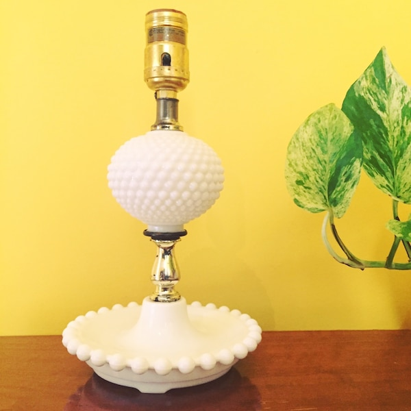 Hobnail milk glass lamp!