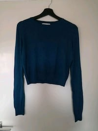 Knitted blue crop-top sweater 6646 km