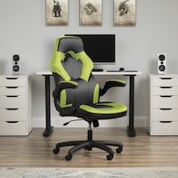 Bonded Leather Gaming Chair, in Green