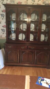 Brown wooden china buffet hutch- two pieces, lighted upper cabinet Mc Lean, 22101