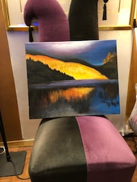 Brown original oil on canvas entitled mountain and lake at sunset Edgewater, 07020