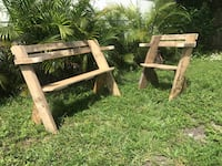 Set of Two Rustic Garden Bench  Miami