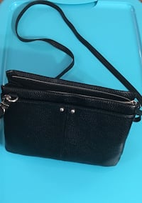 Black pebble leather crossbody bag