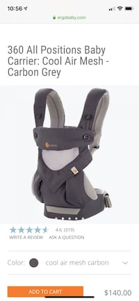 ERGOBABY 360 All Positions Baby Carrier: Cool Air Mesh - Carbon Grey Fairfax, 22042