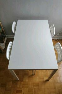 rectangular white wooden table with four chairs dining set Toronto, M4X 1M1