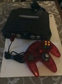 black and red Nintendo 64 console with controller Ottawa, K1K 0S1