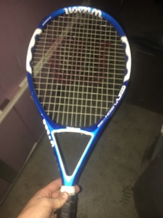 white and blue Wilson tennis racket