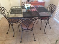 rectangular black metal framed glass top table with chairs Grimsby, L3M