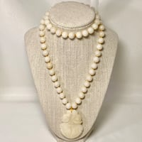 Natural White Jade Beaded Necklace with Carved Pendant Ashburn