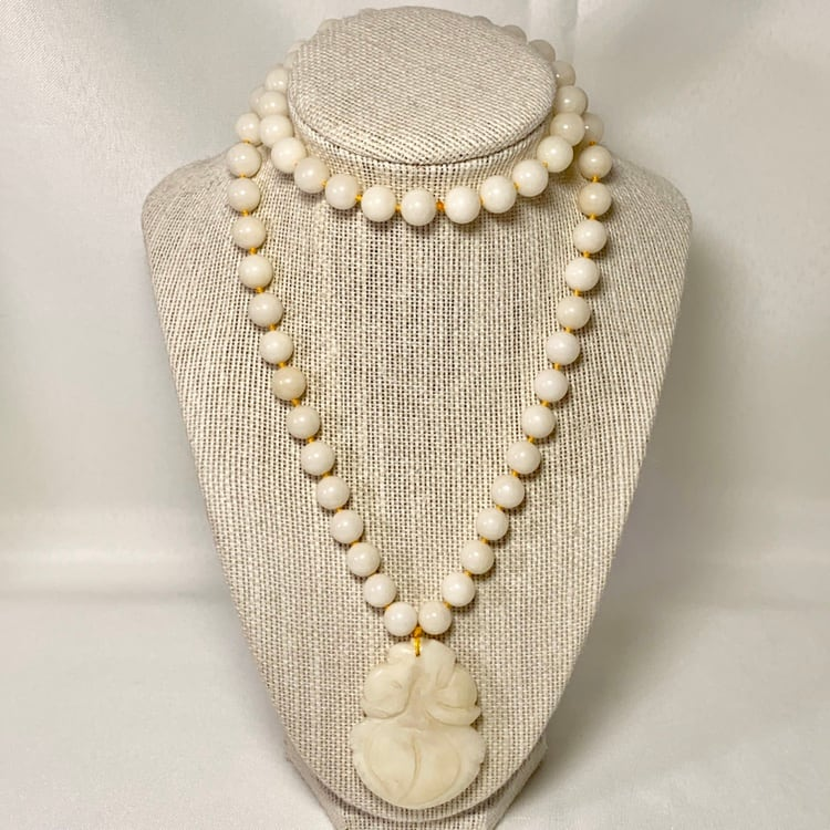 Genuine White Jade Beaded Necklace with Carved Pendant