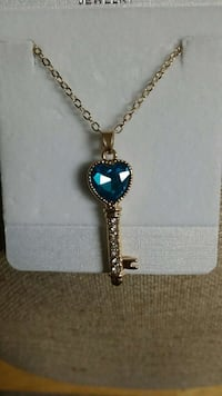 New Blue Heart Key necklace gold plated