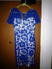 blue and white floral scoop-neck dress Singapore, 821313
