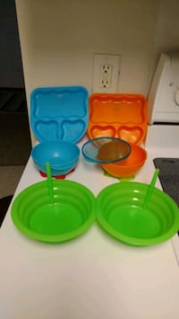 green and blue plastic container Savannah