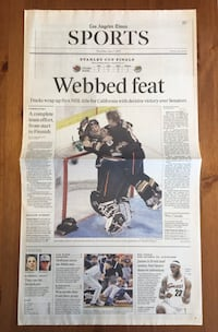 (1 COPY) LOS ANGELES TIMES: ANAHEIM DUCKS WIN THEIR 1ST STANLEY CUP Compton, 90221