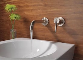 Delta Trinsic 1-Handle Wall Mount Bathroom Faucet Trim Kit in Stainles