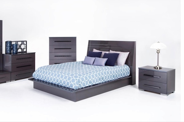 Beautiful modern bedroom set. Dressers nightstand and bed frame. $550