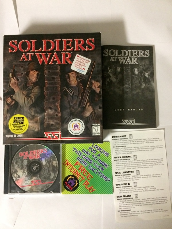 Rare Vintage Big Box pc game Soldiers at war Ssi Cd rom rts Strategy game  computer software WW2 world war 2