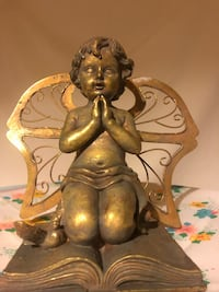 Gold Angel Antique Vintage metal wings +