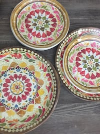 "New Pottery Barn Italian Mosaic Collection Melamine 4-Dinner Plates (11"") and  4-Salad Plates (9"") Washington, 20001"