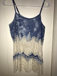 Say What? Tank Top Half Lace Medium Blue Marble Western Country Christmas Gift Colorado Springs, 80910