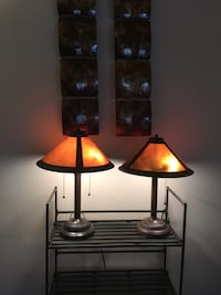 """Lamps- Pair of Metal Burnt Orange/Copper colored Lamps, double bulb, heavy, unique style 24""""tall. 40.00 pair."""