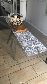Glass rectangular dining table with bench