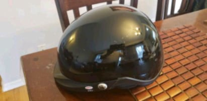 black full face motorcycle helmet. Medium size