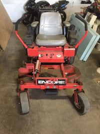 Red and black encore zero turn mower with a Kawasaki engine all  the time maintained and in good shape   Good machine fits in tight places Toronto, M6N 5J1