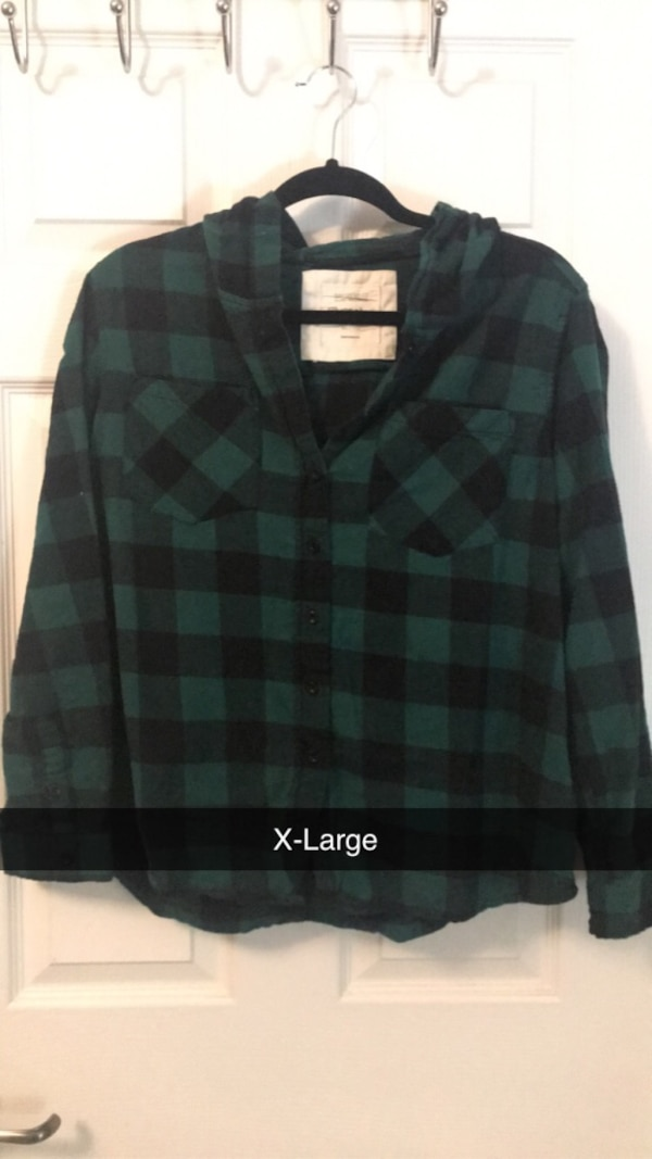 Two XLarge Green Long Sleeves - One Camo and One Plaid 02b4989e-4b74-4578-98ab-5bf6800ba6ed