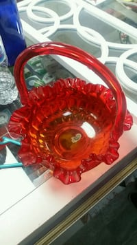 Fenton ruby red glass basket with handle