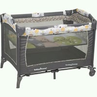 baby's black and gray travel cot Cathedral City