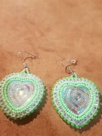 two green-and-white beaded earrings Edmonton, T5G 1H3
