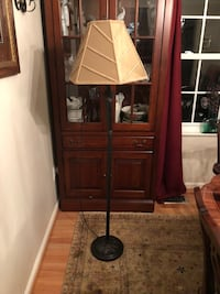 Floor lamp. Metal brownish/black.  Gold shade   Ashburn, 20147