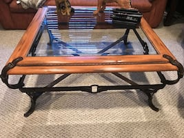 Large Wood/Glass Coffee Table