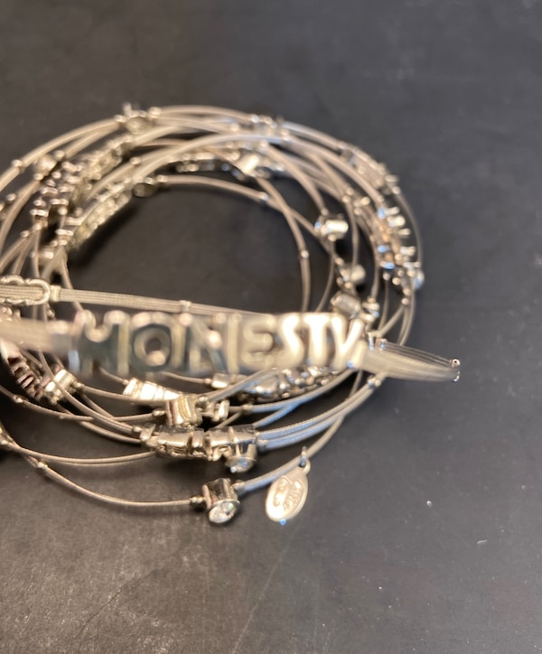 Cookie Lee Bangle Bracelets - Silver, Rhinestones, Inspirational Words 25759cc7-7843-449e-959a-00d15ab7924a