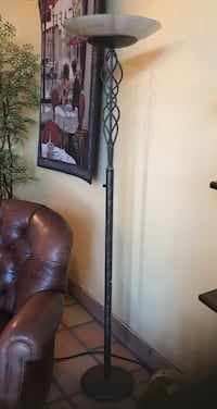 black steel torchiere with white frosted glass shade Huntington Beach, 92648