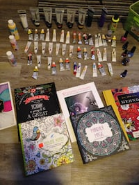 Assorted acrylic and oil paints -adult coloring books -everything for $50 obo Edmonton