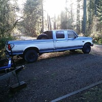 white and blue Ford F-250 crew cab pickup truck