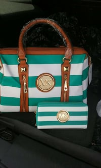 teal and white Michael Kors striped tote bag and wristlet West Point, 31833
