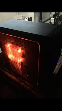 black computer tower with red LED light