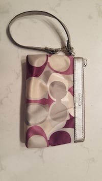 COACH monogrammed purple and gray wristlet